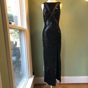 NWT NITELINE Della Roufogali Black Sequin Gown 4